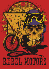 Rebel motors . Skull over motorcycle