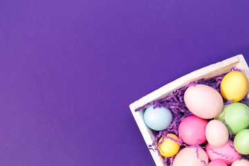 Multicolor eggs in a white tray. Creative Easter concept. Modern solid ultra violet  background.