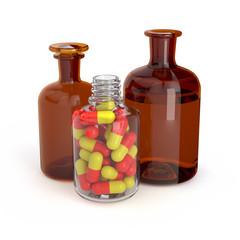 3d rendering bottle with medication pills and liquid medicine solution medicine laboratory health illness