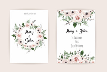 Wedding Invitation, modern card Design. Vector elegant watercolor rustic template