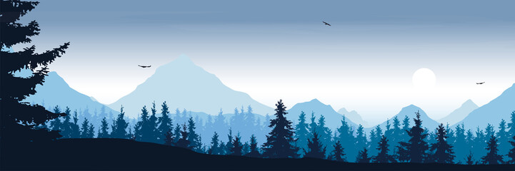 Aluminium Prints Blue sky wide mountain landscape with forest and flying birds under the morning sky with clouds and rising sun - vector, suitable for outdoor advertising