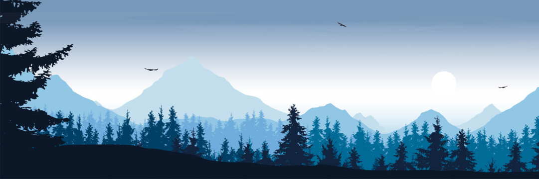 wide mountain landscape with forest and flying birds under the morning sky with clouds and rising sun - vector, suitable for outdoor advertising