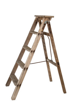 ladder old wooden ladder on white background, isolated