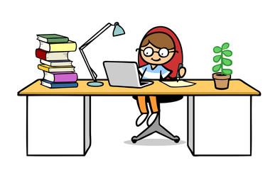 Kind beim Lernen am Laptop Computer