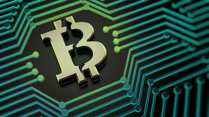 Bitcoin sign symbol electronic money mining 3d illustration