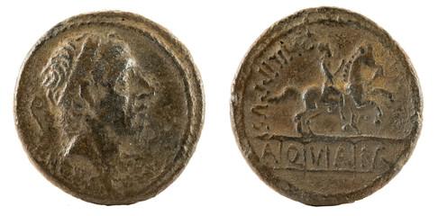 Roman Republic Coin. Ancient Roman silver denarius of the family Marcia.