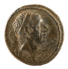 Roman Republic Coin. Ancient Roman silver denarius of the family Marcia. Obverse.