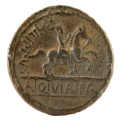 Roman Republic Coin. Ancient Roman silver denarius of the family Marcia. Reverse.
