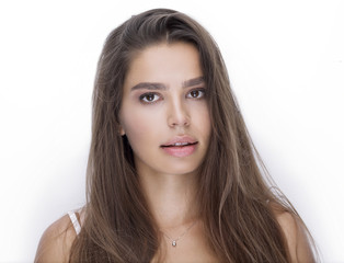 face of beautiful woman with day makeup.