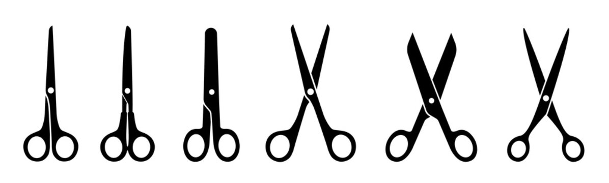 Scissors for cutting flat icon style - stock vector.