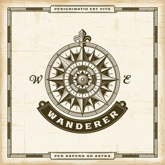 Vintage Wanderer Label. EPS10 vector illustration in retro woodcut style with transparency.