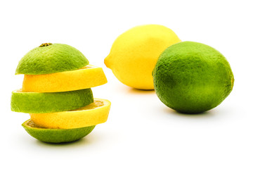 lime and lemon whole and sliced isolated on white. package design element