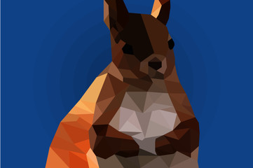 The brown little squirrel on the colotful background. Low poly graphic arts.