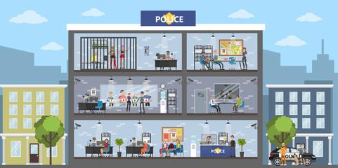 Police station building.