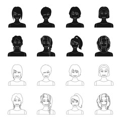 Types of female hairstyles black,outline icons in set collection for design. Appearance of a woman vector symbol stock web illustration.