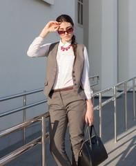 Woman business suit, handbag