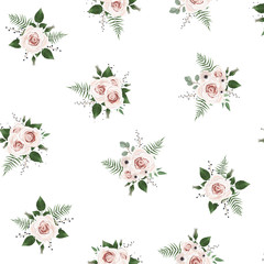 Seamless pattern Vector floral watercolor design. Rustic romantic background print