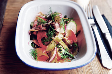 German appetizer of roastbeef and vegetables, toned