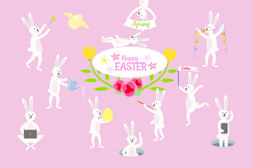 Set of cute Easter cartoon rabbits and design elements. Easter bunny, eggs and flowers. Vector illustration.