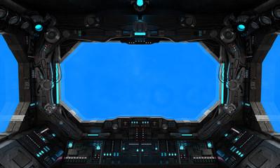 Fototapete - Spaceship grunge interior window isolated