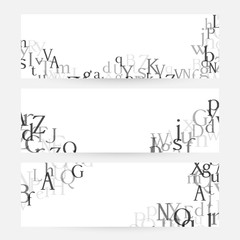 Letters. English alphabet design collection. Vector illustrations for students and children education classes and language lessons advertising.
