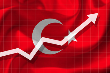 White arrow growth up on the background of the flag of the Turkey.
