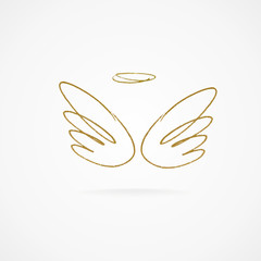 Vector illustration of big golden wings.