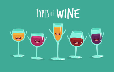 This is  types of wine. The funny glasses of wine you can use in the menu, in the shop, in the bar, the card or stickers.