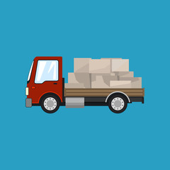 Red Small Cargo Truck with Boxes Isolated on a Blue Background, Delivery Services, Logistics, Shipping and Freight of Goods, Vector Illustration