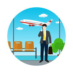 Man with a Briefcase Talking on the Phone at the Airport, View of a Flying Airplane through the Window from a Waiting Room , Air Travel and Tourism Icon, Flat Design, Vector Illustration