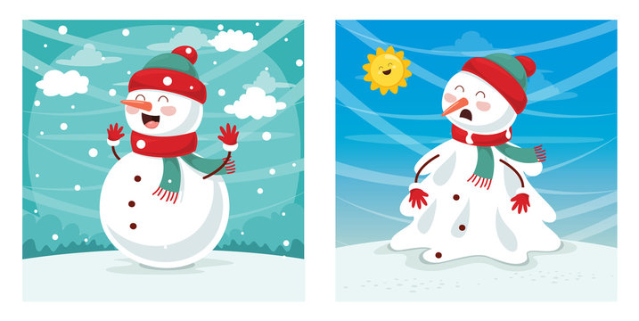 Vector Illustration Of Snowman