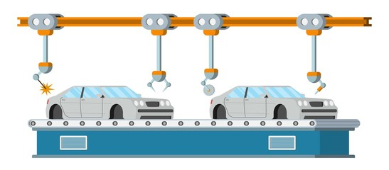 Car assembly line. Automatic auto production conveyor. Robotic car machinery industry concept. Vector illustration.