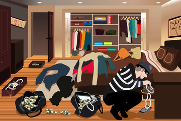 Burglar Stealing Jewelries From a House Illustration
