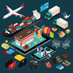 Isometric Illustration of Shopping and Shipping