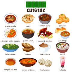 Indian Food Cuisine Illustration