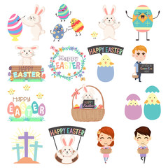 Cute Easter Clip Arts Illustration