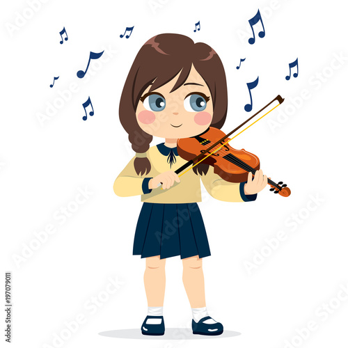 Young cute little girl playing violin happy enjoying music