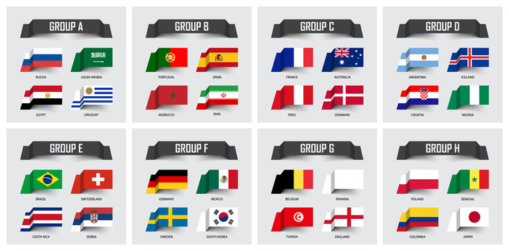 Soccer cup 2018 . Set of national flags team group A - H . Sticky note design . Vector for international world championship tournament
