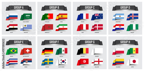 Soccer cup 2018 . Set of national flags team group A - H . Sticky note  design . Vector for international world championship tournament 36fcf98fa