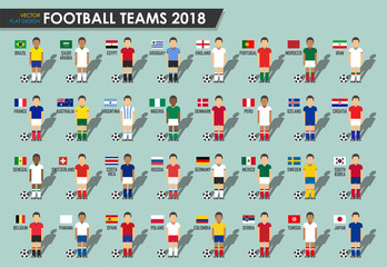 Soccer cup teams 2018 . Set of Football players with jersey uniform and national flags . Vector for international world championship tournament