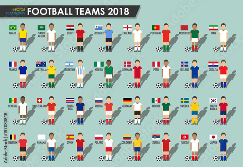 479c881f9 Soccer cup teams 2018 . Set of Football players with jersey uniform and national  flags . Vector for international world championship tournament