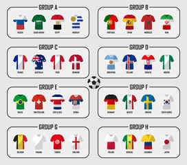 Soccer cup 2018 team group set . Football players with jersey uniform and national flags . Vector for international world championship tournament