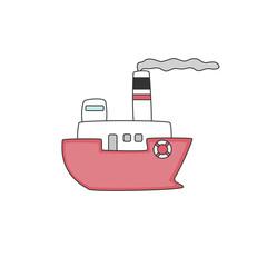 Cartoon ship on white background. Vector illustration.