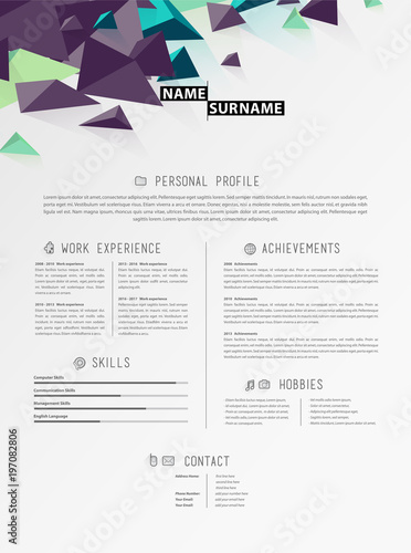 Creative Simple Cv Template With Triangle Shapes In Header Stock