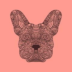 French bulldog head zentangle stylized, , illustration, freehand pencil, hand drawn, pattern. Zen art. Ornate . Lace