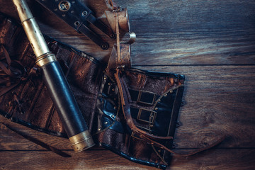 A beautiful still-life in the steampunk style with protective goggles