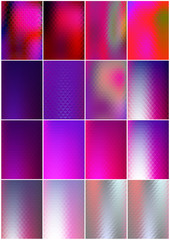 16 Abstract shiny geometric cards design set. Colorful mosaic hologram textures for any design.