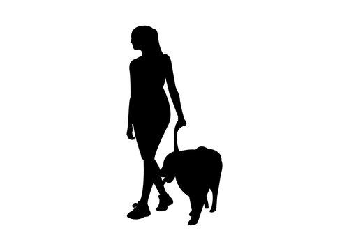 Woman walking her dog silhouette