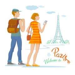 Color graphic illustration, modern young couple of tourists traveling with a view of Paris. Girl takes picture of Eiffel Tower on mobile phone, guy is holding backpack. Vector, isolated on background.