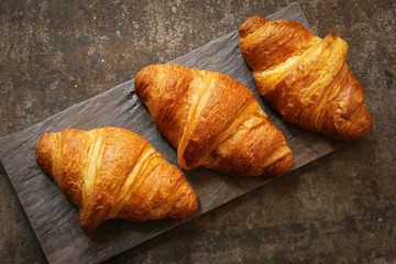 Homemade Buttery French Croissants top down view